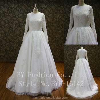 Quality Fabric Heavy Handmade High End Arabic Alibaba Wedding Dress With Sleeves Turkish Dubai