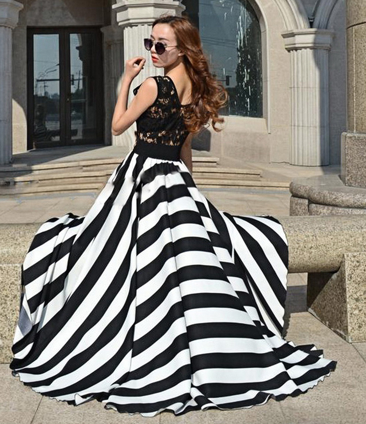 07099652057e Women Summer Floor Length Maxi Dress Black White Strip Print Dress Lace  Skeleton Vest Top Long Dress Vestidos Femininos D175