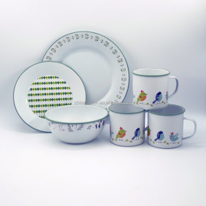 Colorful Decal Enamel Steel Serving Cup Mug Bowl & Camping Dishes