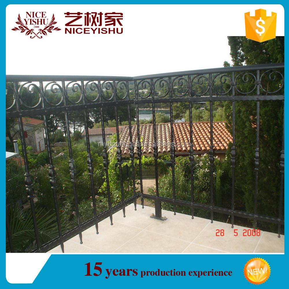 Yishujia factory modern iron grill design for veranda top sale iron balcony railing designs