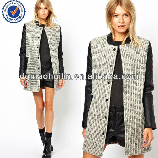 2014 collarless faux leather sleeve women100% wool coats