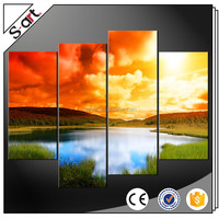 4 Panels commercial cheap stretched canvas wall art printing