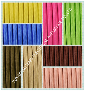 UL approved 15A 115V SVT SJT 2*18AWG two core PVC colorful Pendant lamp cloth covered wire