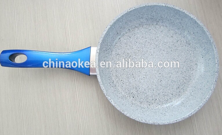 Eco friendly aluminum forged frying pan with painted bottom marble coating blue bakelite handle