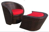 Irma Elegant outdoor patio furniture wicker leisure sofa chair with foot stool for balcony set furniture