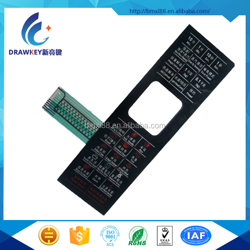 Custom Touch Control membrane switch for microwave oven