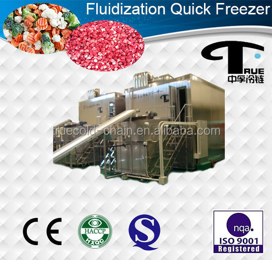 3500kg/h Fluidized iqf tunnel freezer
