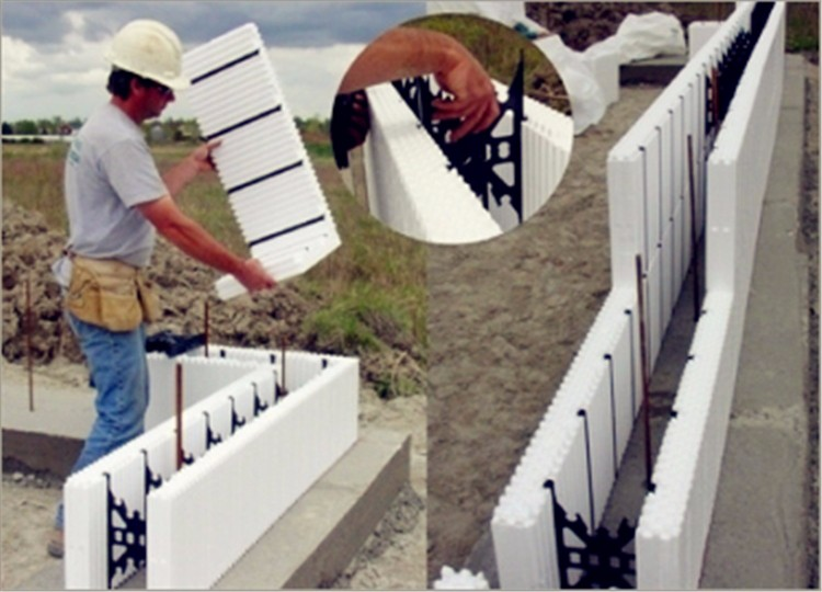 Energy saving environmentally friendly eps foam concrete for Icf basement construction