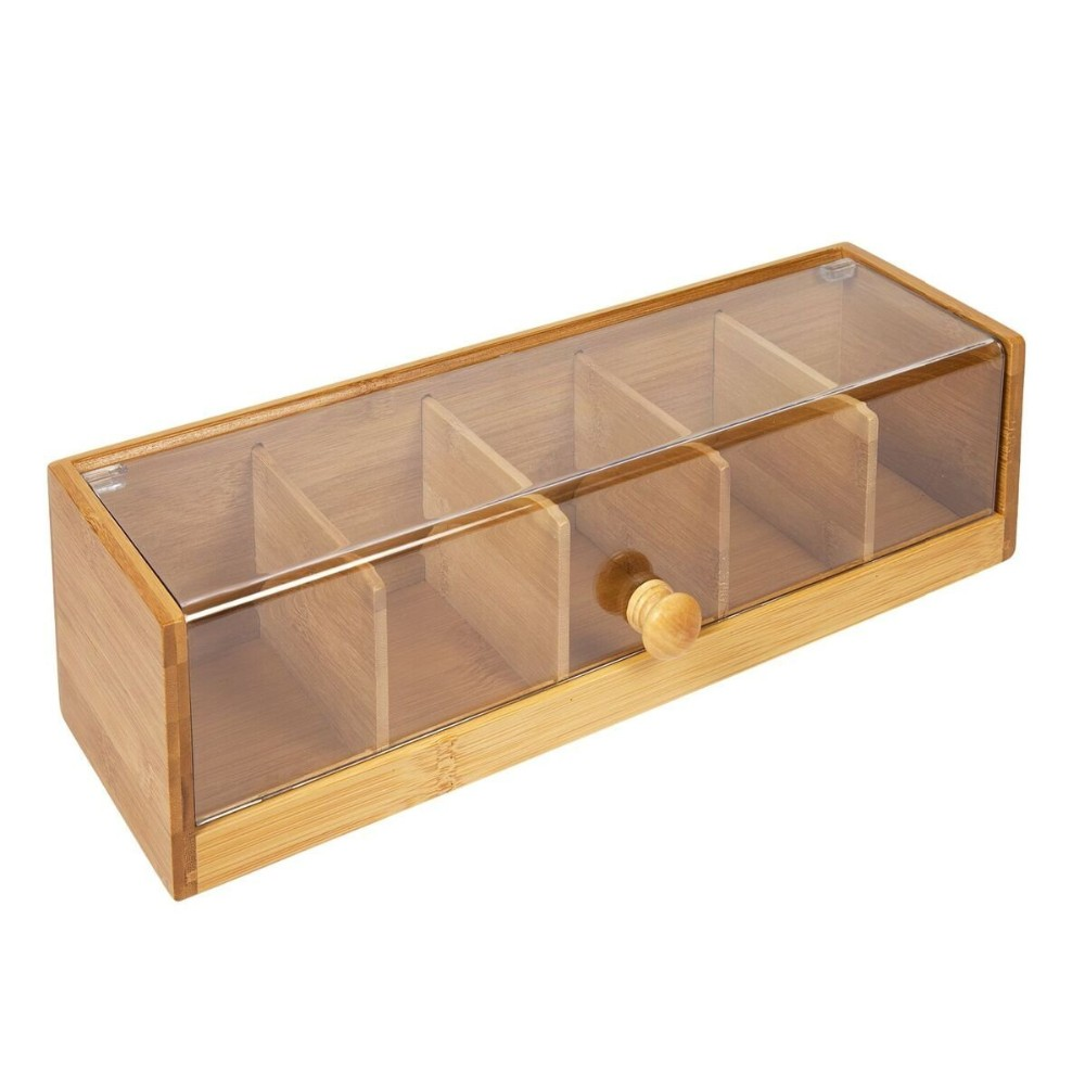 High Quality 5 Compartment Pretty Bamboo Wooden Tea Bag Caddy Box 3