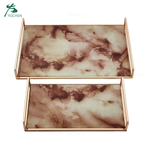 Rectangle Rose Gold Marble Tray with Handle