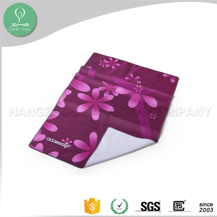 2016 hot sale custom printed suede microfiber yoga towels