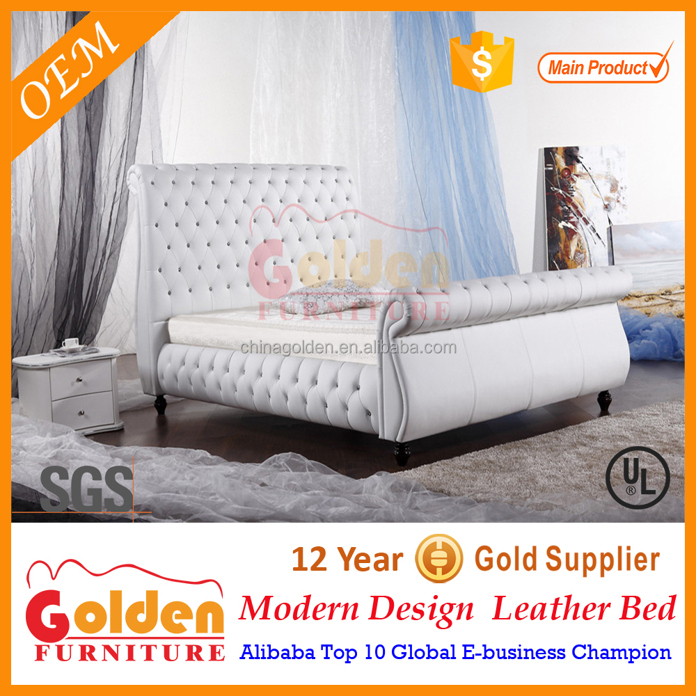 luxury royal crystal leather bed G954#