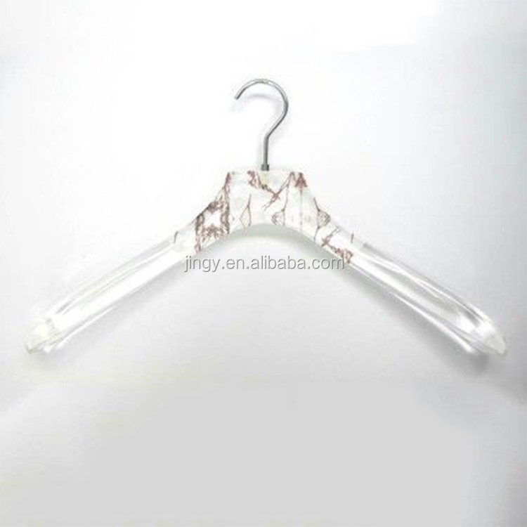 clear acrylic hanger with engraved logo