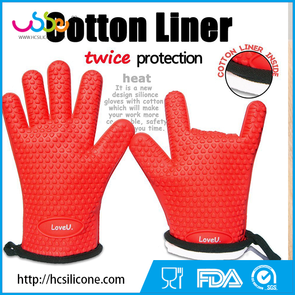 USSE Oven Mitts - Silicone and Cotton Double-layer Heat Resistant Gloves and Silicone Gloves Oven BBQ Gloves