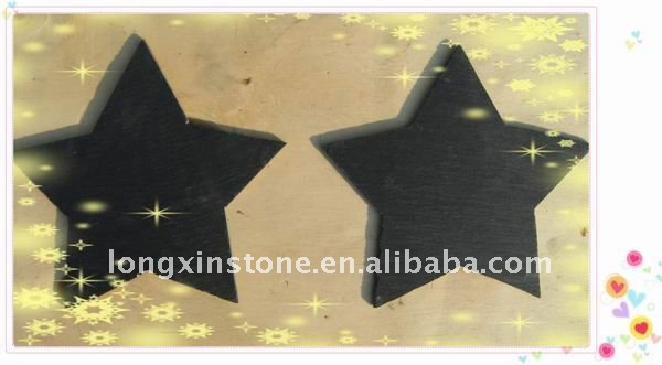 Star shaped black slate serving plate