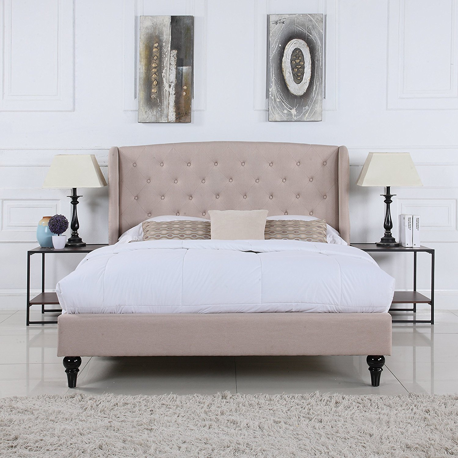 Buy Classic Dark Beige Box Tufted Shelter Bed Frame (Queen) in