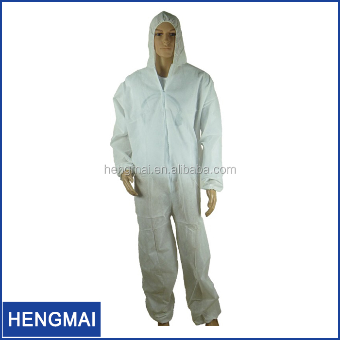 Protective Apparel White Blue Color Plastic Disposable Coverall with Hood