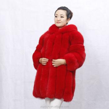 57c7d4bb0 Costumbre teñido color rojo abrigo de piel de zorro real chaqueta de piel  con capucha para