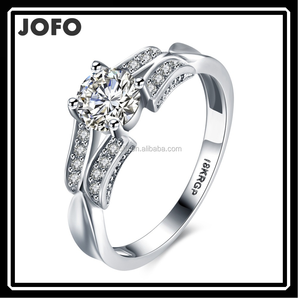 Couples Lovers Zircon Silver Ring Adjustable Size Platinum Plated Wedding Rings