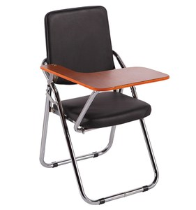 black pu leather folding study chair with writing pad office chair folding chair