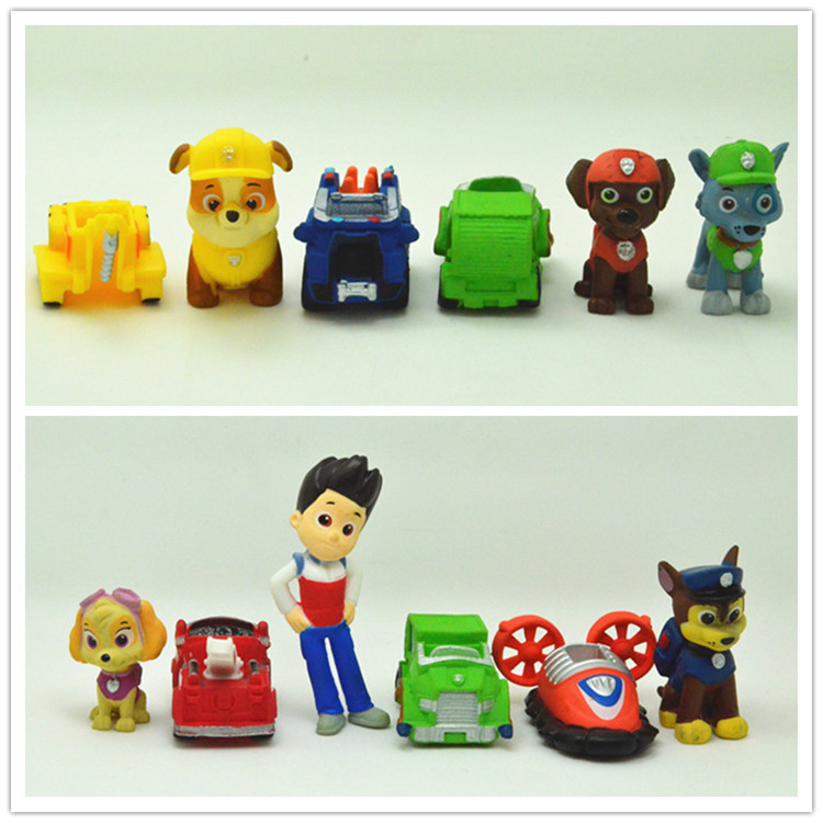 12 pieces Mini Action Toy Figures boys gift puppy static cartoon car and dog dolls free