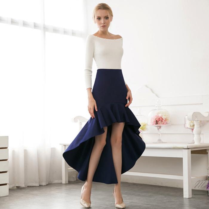 feda5421d2 Get Quotations · 2015 Spring fashion irregular mermaid skirt high waist OL  ladies' knitted skirt slim hip vintage