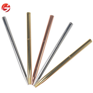 Rose gold/Gold/Silver ball pen with custom logo stationary slim promotional metal ball point pens