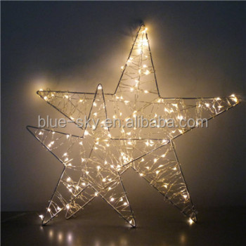 star metal frame decorated with copper wire string led decoration light christmas lighting