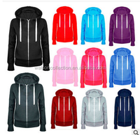 women's ladies plain zip up long sleeve hoodies tops SALE!!!