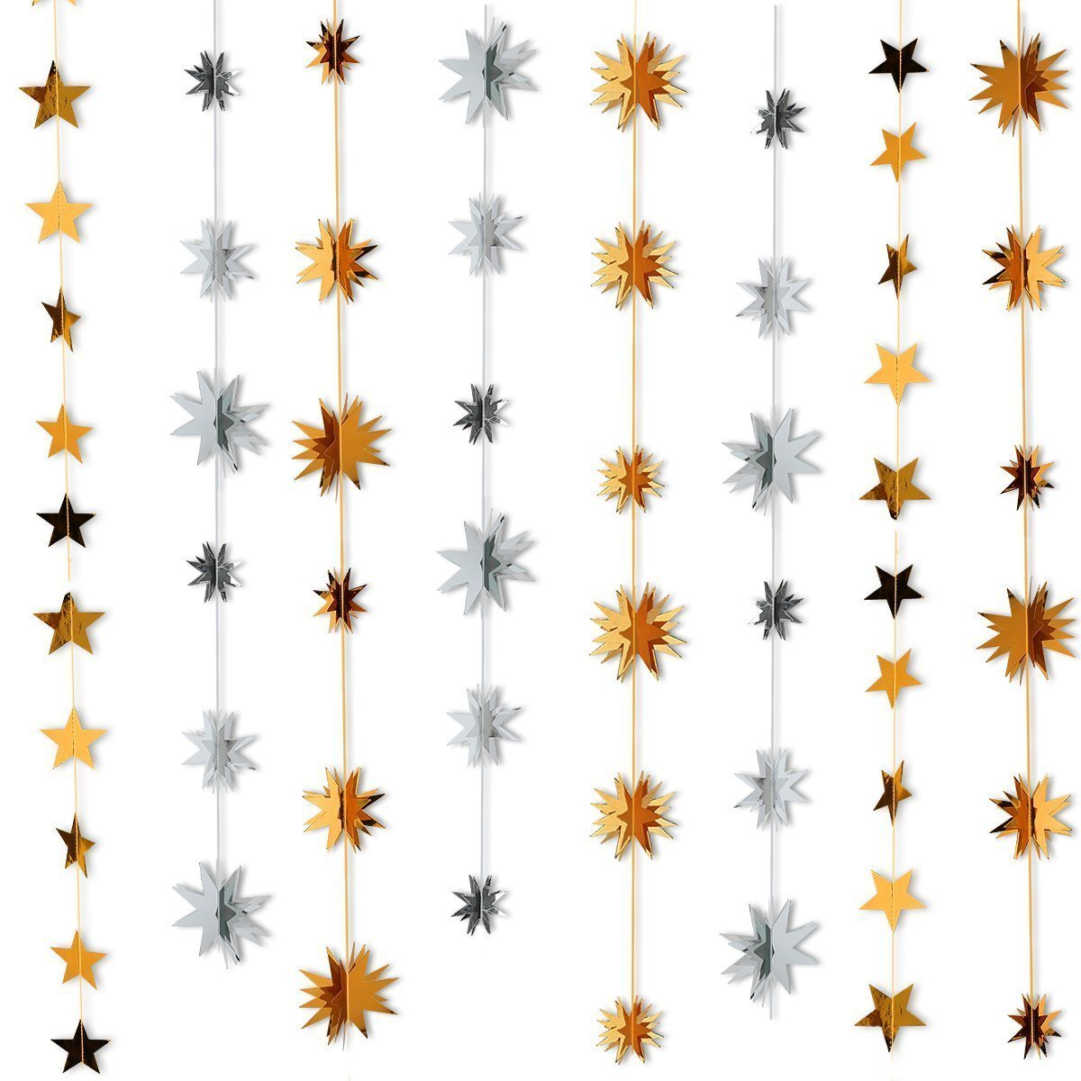 2Pcs Gold & Silver Hanging 3D Twinkle Star Garland and 27Pcs Gold Twinkle star Garland Flags,for Chrismas ,Holiday,NewYears,Wedding,Birthday,Home Decorations