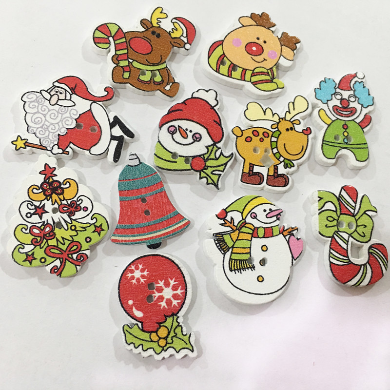 Arts,crafts & Sewing Cooperative 50pcs Christmas Holiday Wooden Collection Snowflakes Buttons Snowflakes Embellishments 18mm Creative Decoration Pretty And Colorful Apparel Sewing & Fabric