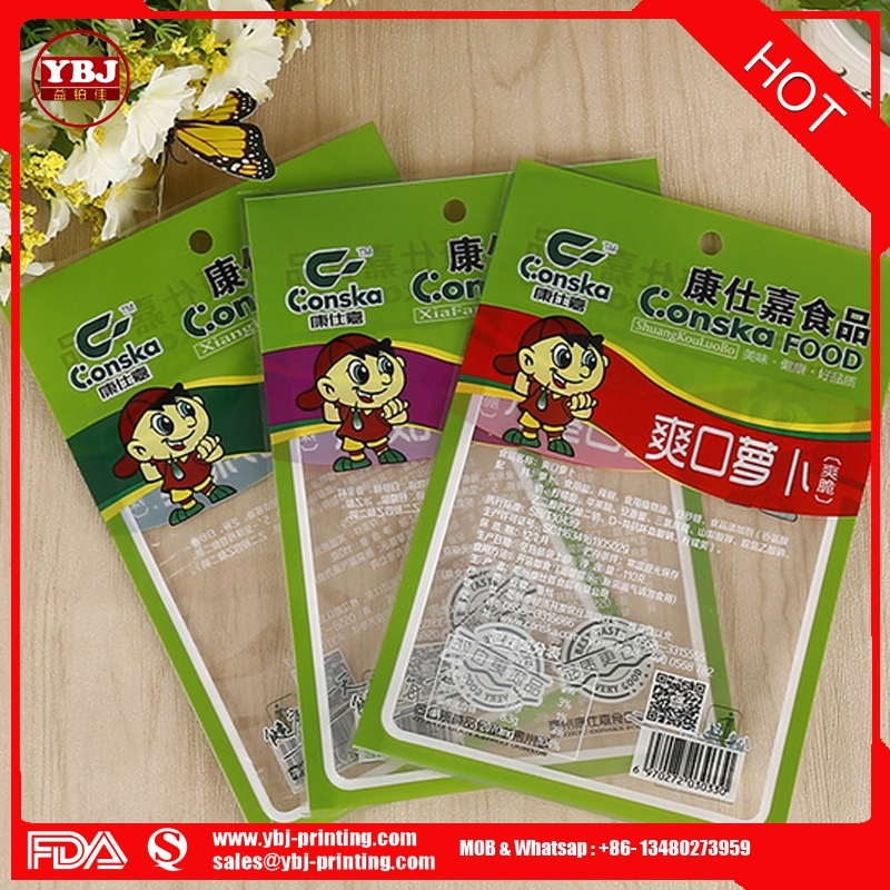 China Guangzhou factory produced 3 side seal food packaging