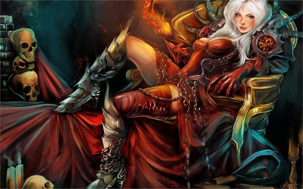 Dark Gothic Magic Skull Warrior Armor Throne Wearing boots Fantasy Girls 4 Sizes Home Decor Canvas Poster Print