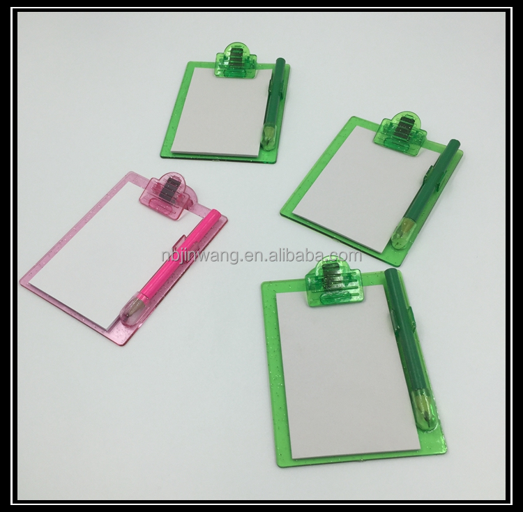 High quality mini A6 storage clipboard, plastic clipboard with paper & wooden pencil