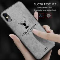 Luxury Fabric Cloth Deer Case Cover For iphone XR XS Max Bumper Cover Phone Case