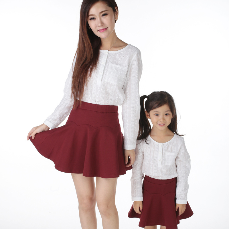 815ce914c0f5 Fall Mom Daughter Matching Clothes Family Look Girl And Mother Fashion  White Cotton Hollow Long Sleeve Shirts Outfits Clothing