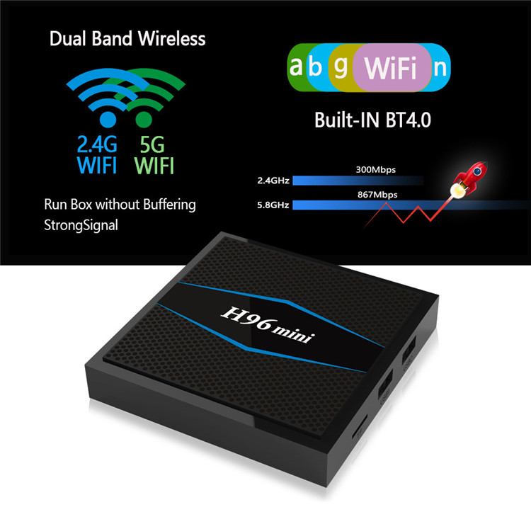 3d blue-ray android media player h96 MINI google satellite receiver Amlogic s905w dual wifi set top box