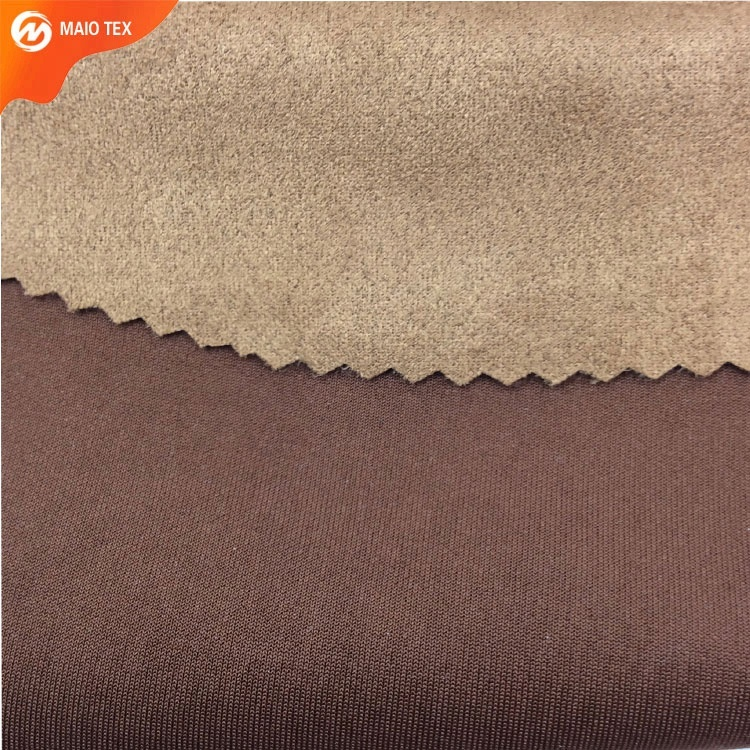 stock polyester elastic Force Recombination Scuba Imitation Suede Fabric