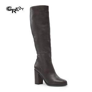 Classic Durable Rubber Zip Boots Women Leather Boots Shoes