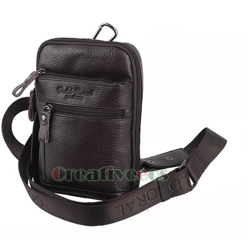 82de15018aaf Get Quotations · Men Vintage Geunine Leather Cowhide Travel Hiking Cell  Phone Messenger Shoulder Belt Fanny Pack Waist Hook