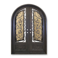 Wholesale front design images double swing wrought iron door for sale