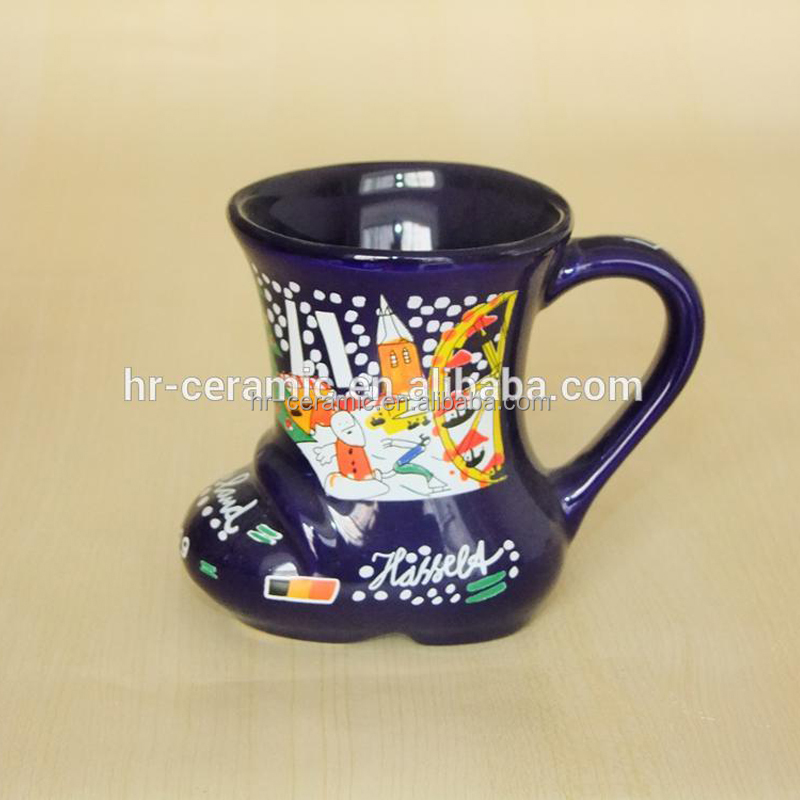 Hunan Liling factory santas blue boot ceramic christmas mugs