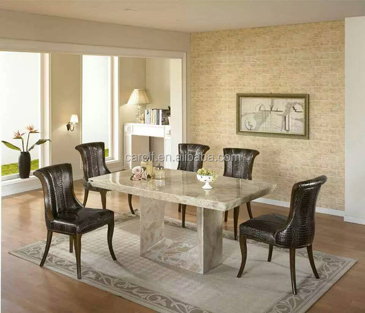 foshan luxury marble furniture stone dining table set with 8 chairs