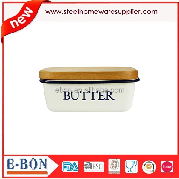 High Quality Stainless Steel Handles Butter Box with Wooden Lid