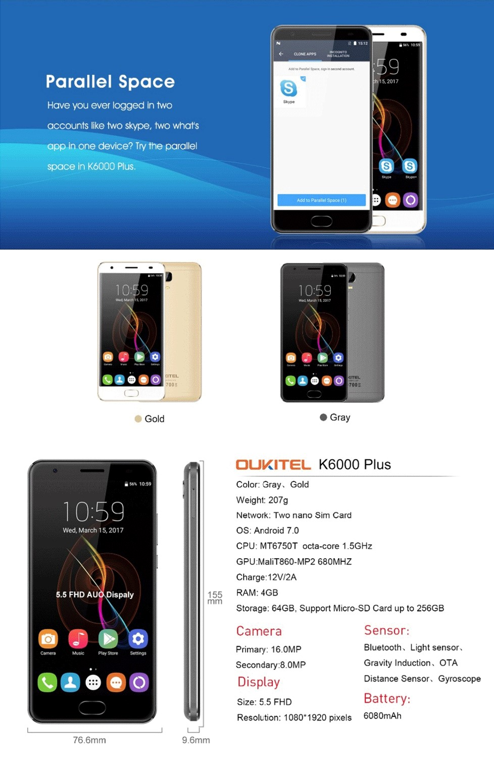 Wholesale Oukitel k6000 plus 4G mobile phone 5.5inch FHD MTK6750T Octa Core Android 7.0 4GB+64GB 6080mA Fingerprint
