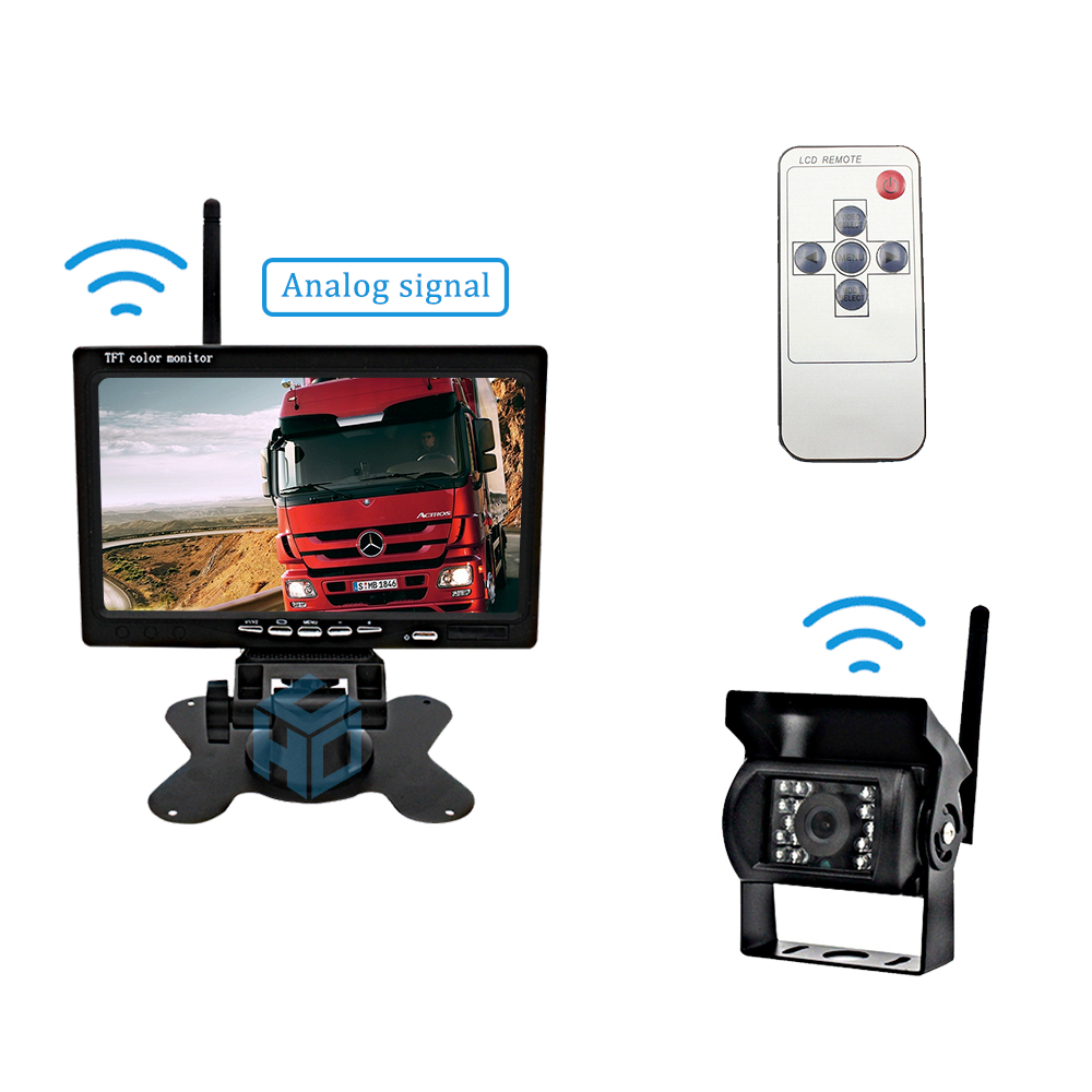 2.4GHz analog 7 inch monitor display truck wireless rearview system