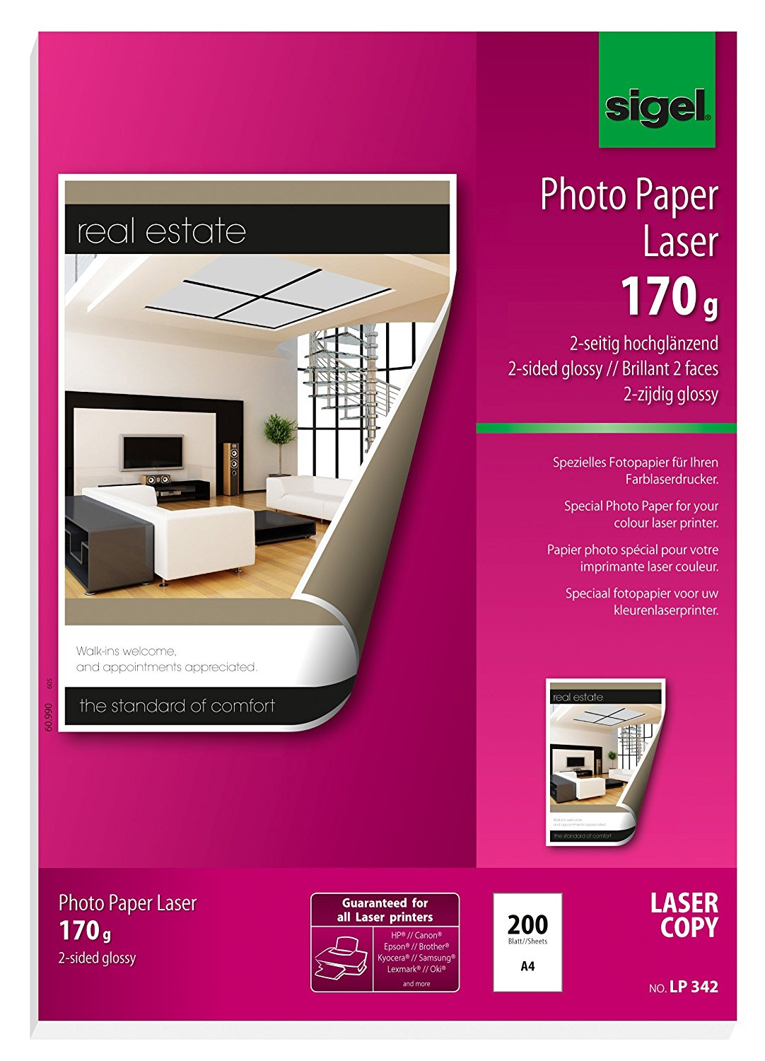 Sigel LP342 Photo Paper for Colour Laser/Copier, 2-sided glossy, 114.9 lbs, A4, 200 sheets
