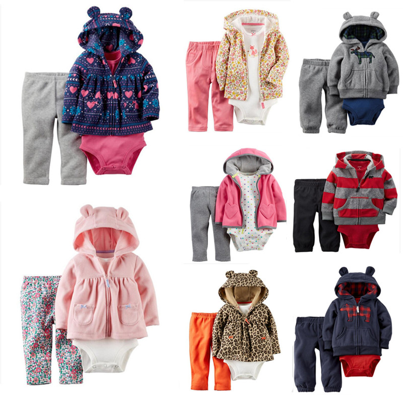 2016 baby clothing coat+bodysuit+pant 3 piece set baby boy girl Fleece suit bebes meninos spring autumn kids clothes