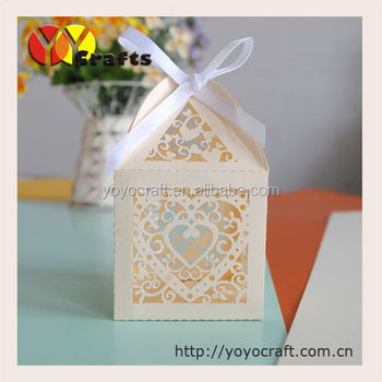 Heart Shaped Ivory Small Gift Boxes For Candles Favorable Wedding