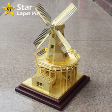Gift Idea Famous Dutch Netherlands Windmill 3D Metal Brass Miniature Model